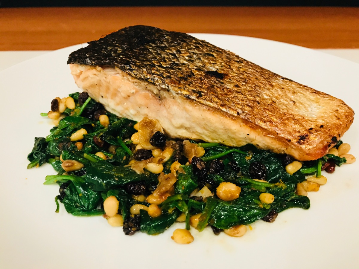 Spinach with Garlic, Pine Nuts, Currants & Orange