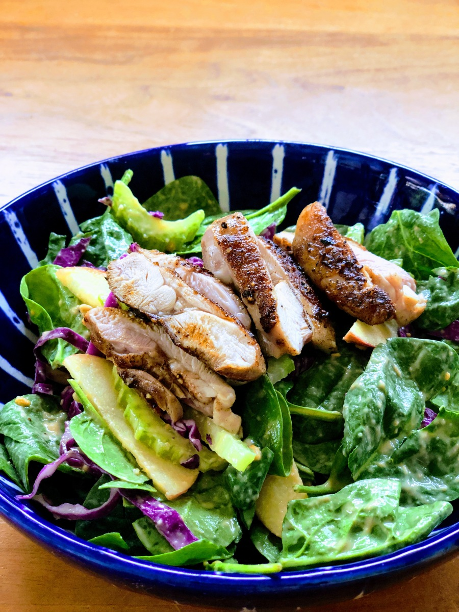 Fast Five Spice Chicken Salad with Peanut Miso Dressing