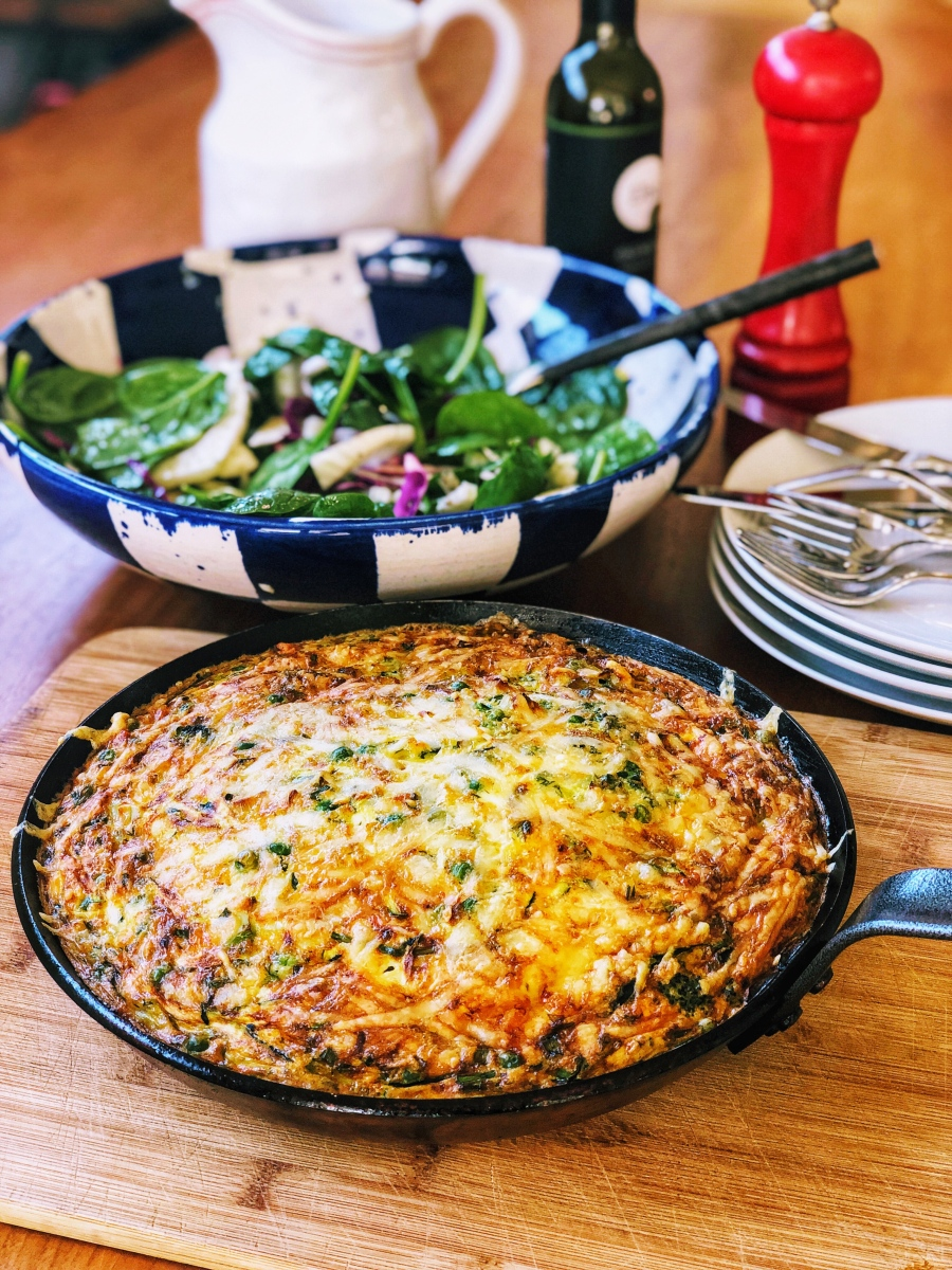 A Quick and Healthy Frittata with Greens and Feta Recipe